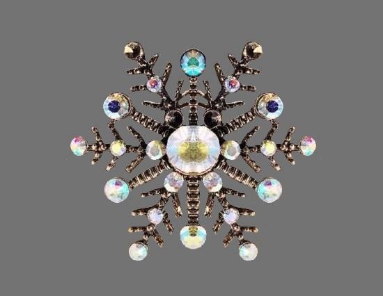 Snowflake ring. Metal alloy, rhinestones. 1980s