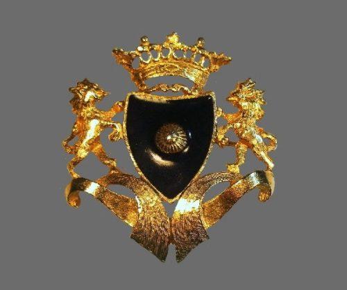 Coat of Arms brooch. Gold tone, black enamel