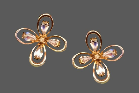 Crystal flower gold tone clip on earrings