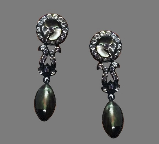 Dangling earrings. Pave rhinestone, sterling silver, glass cabochon, black finish