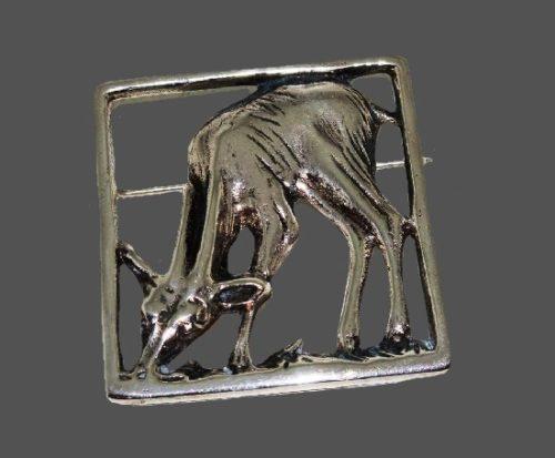 Deer sterling silver brooch. 1960s