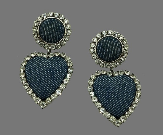 Denim and rhinestone heart shaped dangle clip on earrings