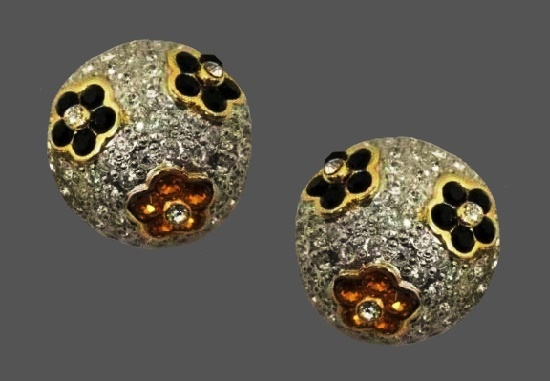 Dome shaped flower design pave rhinestones, enamel, gold tone alloy clip on earrings