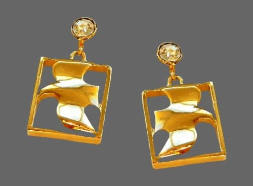 Dove earrings. 22 K gold plated, cubic zirconia. 2.5 cm. 1990s