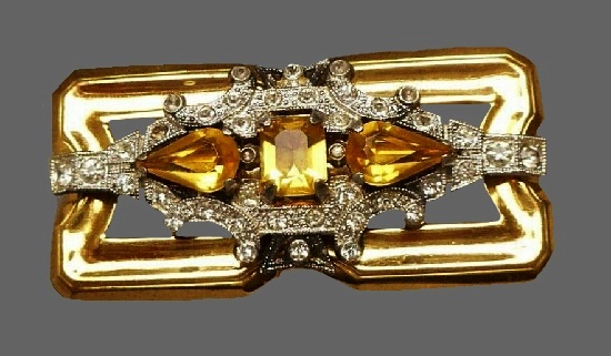Faux citrine rhinestones gold tone rectangular shaped brooch