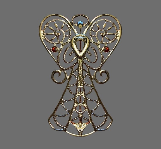 Filigree design Angel silver tone pin