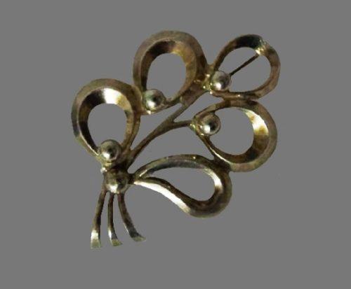 Floral design sterling silver brooch pin