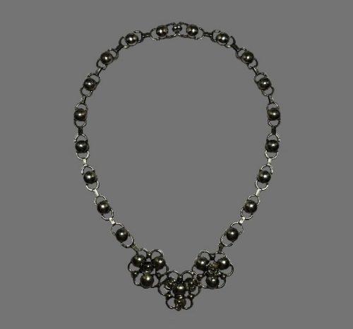 Floral design sterling silver necklace