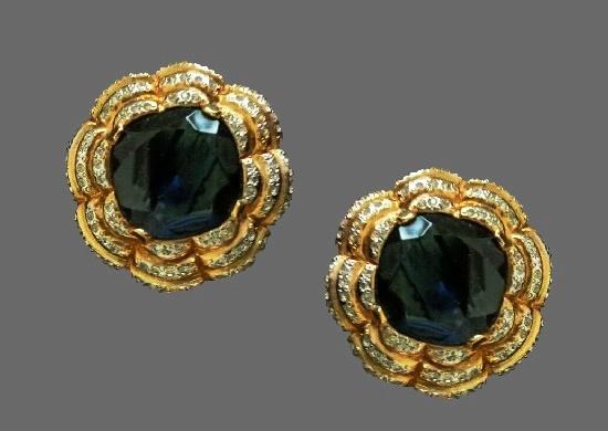 Flower clip on earrings. Gold tone, rhinestones, art glass