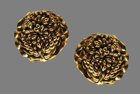 Flower gold plated clip on earrings