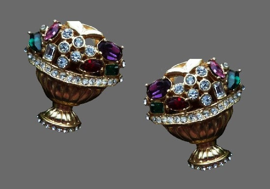 Fruit basket clip on earrings. Gold plated, art glass, rhinestones. 1992