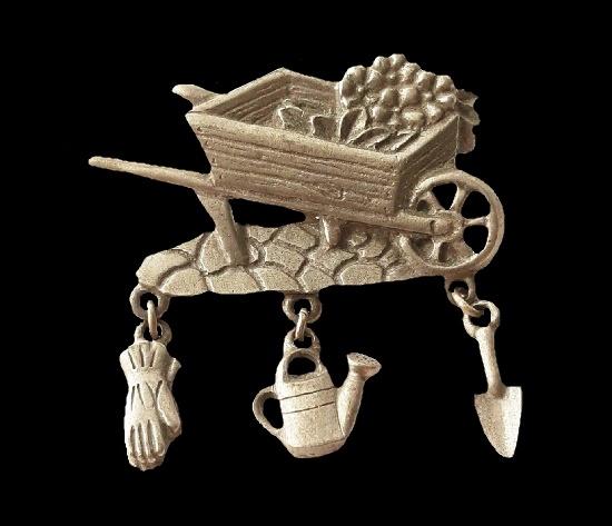 Gardening wheel barrow pewter lapel pin