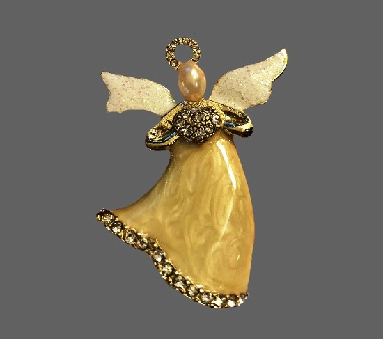 Give Joy Collection Angel brooch. Gold tone, enamel, rhinestones, faux pearl