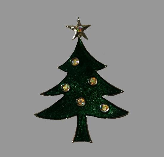 Glitter enamel rhinestones Christmas tree brooch