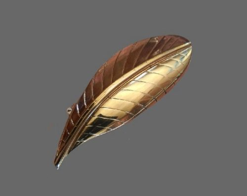Gold plated sterling silver leaf brooch. 1970s