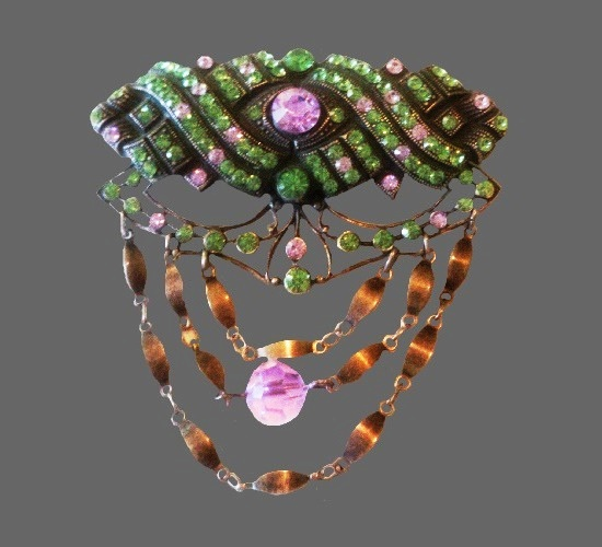 Gorgeous Victorian style brooch with dangling bead chain. Silver, amethyst, Aurora Borealis crystals