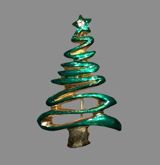 Green Christmas Tree brooch pin. Gold tone alloy, rhinestones, enamel