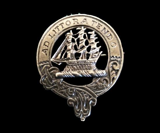 Hallmarked Edinburgh 1965 Jarve Jarvis clan badge brooch. Sterling silver. 1963