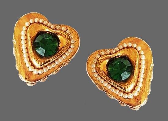 Heart gold tone clip on earrings. Faux emerald, pearl, art glass, resin