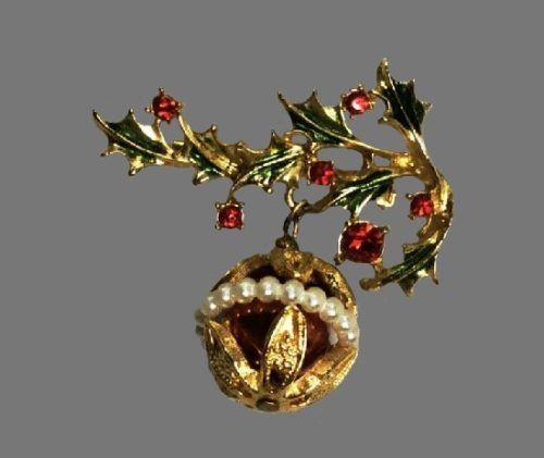 Holly Leaves with hanging Christmas ball. Gold tone, faux pearl, rhinestones