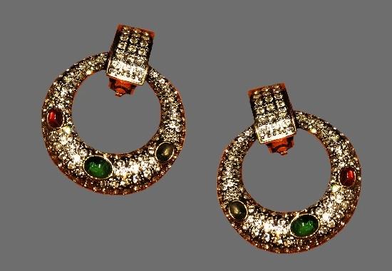 Hoop earrings. Gold tone alloy, rhinestones, art glass