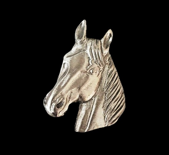Horse head pewter brooch