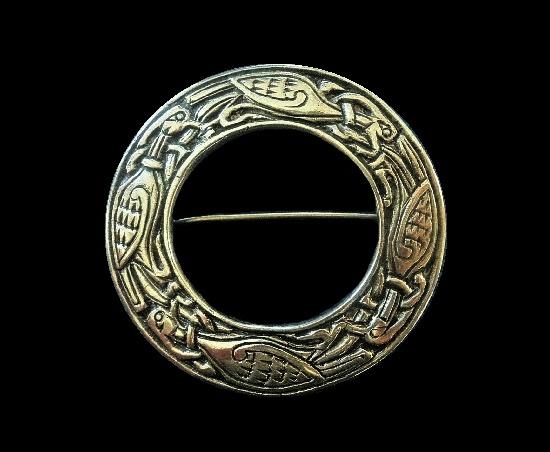 Iona Kells Bird silver brooch. Edinburgh design influenced by the Book Of Kells. 1958