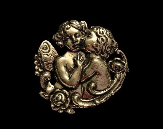 Kissing cupids vintage pewter brooch