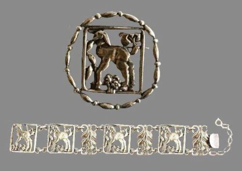 Lamb Art Nouveau style sterling silver bracelet