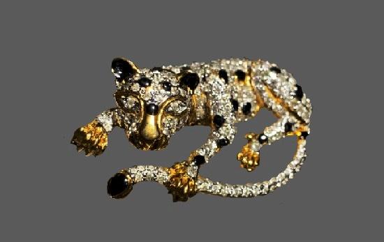 Leopard gold tone black enamel rhinestones brooch