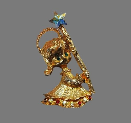 Little Angel brooch. Gold plated metal alloy, rhinestones. 1970s