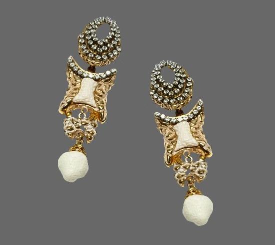 Long Gold Plated White Resin Crystal Earrings. 1980s