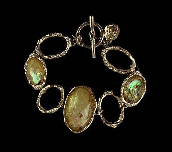 Lucite rhinestones gold tone bracelet