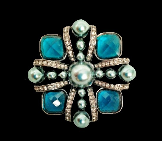 Maltese cross brooch. Silver tone jewelry alloy, blue art glass
