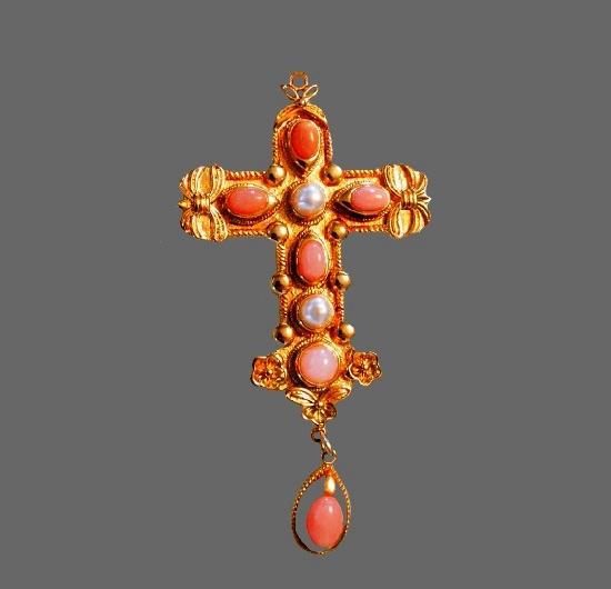 Maltese cross pendant. 22 K gold plated, art glass. 9 cm. 1970s