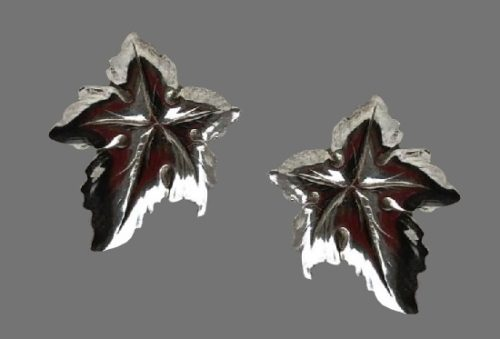 Maple leaf sterling silver clip on earrings. 1950s