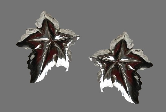 Maple leaf sterling silver clip on earrings. 1950s