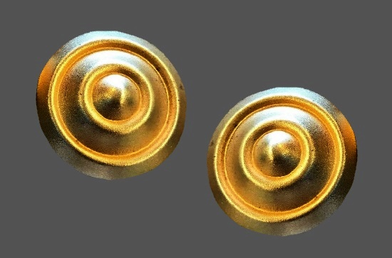 Matte gold tone round shaped clip on earrings. 1980s