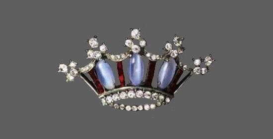 Moonstone crown. Sterling silver, plastic, rhinestones. 5.5 cm. 1940s