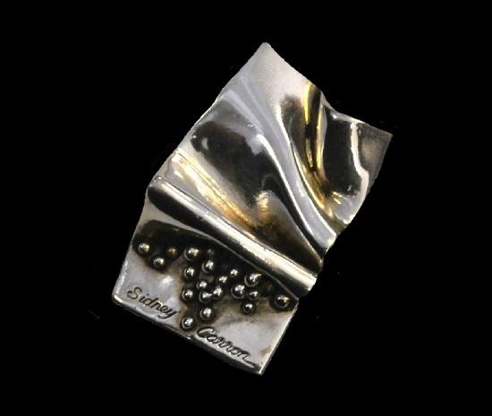 Napkin wrinkles beads sterling silver brooch