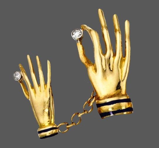 Pair of 18 Karat Gold, Diamond and Enamel Cufflinks