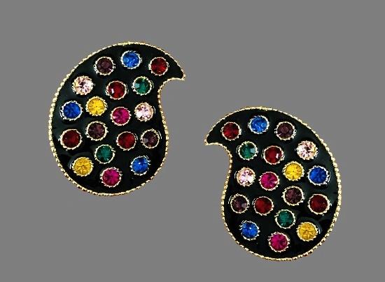Palette gold tone, enamel, crystal earrings