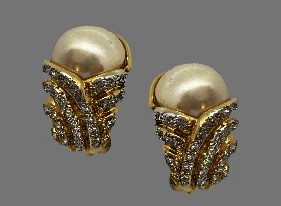 Pearl clip on earrings. Gold tone metal alloy pave rhinestones, faux pearl