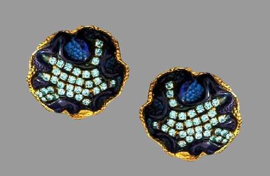 Purple resin gold tone rhinestones statement earrings. 1980s