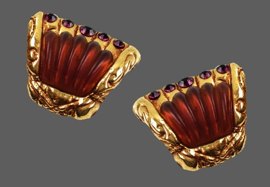 Red resin rhinestones gold tone clip on earrings