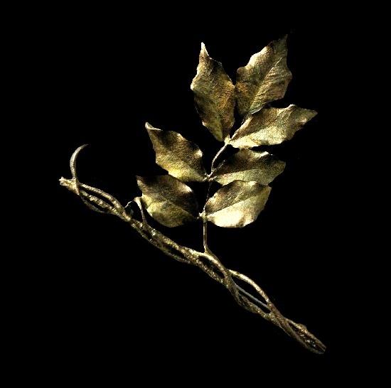 Realistic design leaf branch gold tone brooch