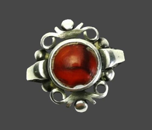 Red agate 830 silver ring