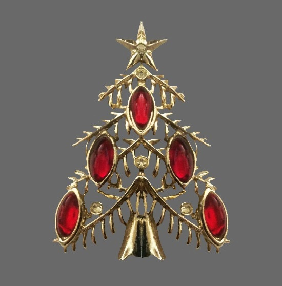 Red glass clear rhinestones gold tone Christmas tree pin