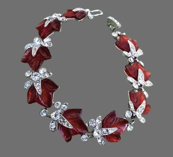 Red leaf rhodium plated rhinestone bracelet. 1992