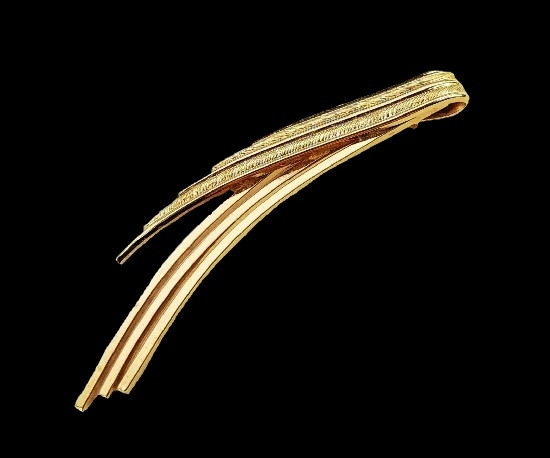 Ribbon brooch. 12 K gold filled textured metal